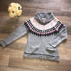 Ricki's Pink & Grey Zip Up Sweater
